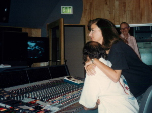 Bobbie and Basil Poledouris at a recording session in 1989.